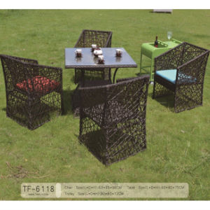 Puoular Garden Furniture Outdoor Rattan Coffee Dining Table Set with Cushion