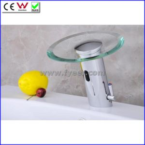 Glass Spout Waterfall Automatic Infrared Sensor Faucet (QH0109A) pictures & photos