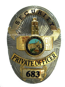 Two-Tone Gold and Silver Numbered Security Officer Police Badge