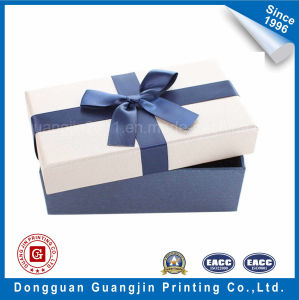 Embossed Pattern Paper Gift Rigid Box with Ribbon Decoration pictures & photos