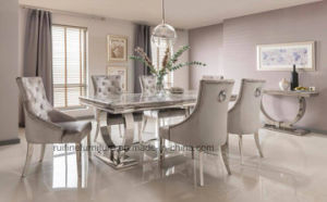 Modern Solid Ari Grey Marble Arianna Dining Table And Silver Velvet Crushed Fabric Chair With