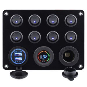 Dual USB Charger Socket 4.2A + 12V Power Outlet + LED Voltmeter + 8 Gang on-off Toggle Switch
