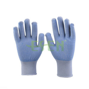 13 Guage Natural White PVC Dots Cotton Kintted Working Gloves