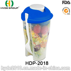 Plastic Salad Shaker Cup with Fork and Dressing Cup (HDP-2018) pictures & photos