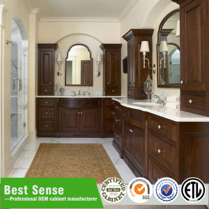 Double Sink Expresso Solid Wood Bathroom Cabinet pictures & photos