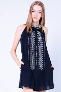 Embroider Halter Black Dress pictures & photos