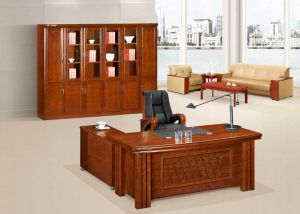 Solid Wood MDF Executive Office Table With Drawers