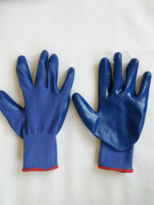13G Polyester Shell Nitrile Coated Safety Work Gloves (N6019) pictures & photos