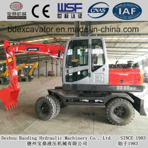 Mini Excavator Low Price Baoding Wheel Excavator Bd80, Bd95 for Sale in Stock pictures & photos