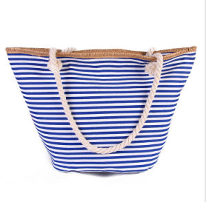 Stylish New Striped Female Handbag Korean Canvas Striped Beach Bag Large Capacity Shoulder Bag