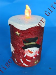 Polyresin Xmas Candle with Snowman W/LED Light
