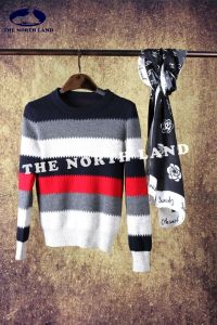 Ladies′ Cashmere Pullover with Contrast Striped pictures & photos