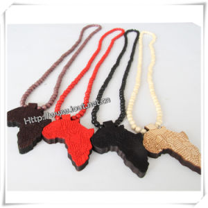 Hip Hop Wood Africa Map Pendant with 36 Inches Wood Beaded Chain (IO-wn036) pictures & photos