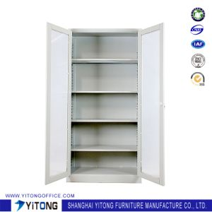 2-Door Glass Door Metal Storage Cabinet / Office Use Steel File Cabinet pictures & photos