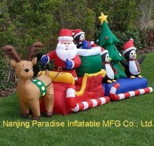 Inflatable Santa Claus with Reindeer