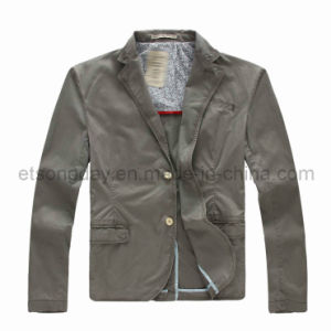 Gray 100% Cotton Men′s Casual Fashiob Blazer (GDJ-42) pictures & photos