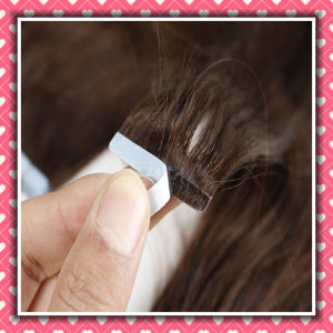 Top Quality Double Drawn PU Tape Weft Hair Straight 14inch pictures & photos