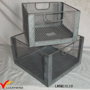 Set 2 Vintage Industrial Metal Wire Storage Crate pictures & photos