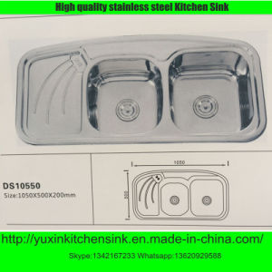 Ss201 Stainless Steel Double Bowl Kitchen Sink with Board (DS10550)