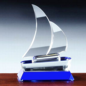 Exquisite K9 Crystal Sail Crystal Glass Trophy pictures & photos
