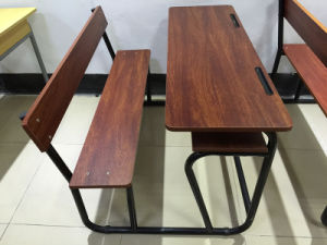Wooden Combo Double Student Desk and Chair (SF-50D) pictures & photos