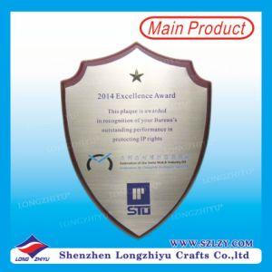 Custom Wood Aluminum Award Wooden Shield Trophy For Excellent Work