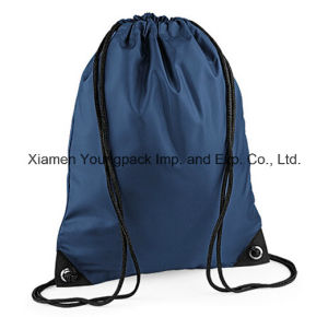 Personalized Navy Blue 210d Nylon Sports Gym Sack Drawstring Bag pictures & photos