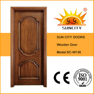 Interior Teak Solid Wood Main Doors Design (SC-W136) pictures & photos