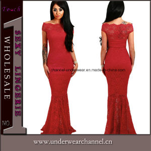 V-Neck Backless Ladies Maxi Party Prom Gown Evening Dress (4190) pictures & photos