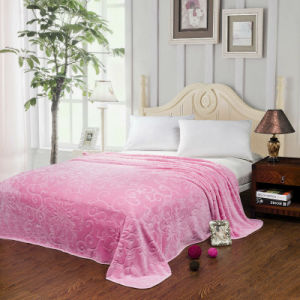 100%Polyester Carving Solid Flannel Blanket (HZS---031)
