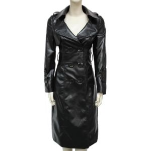 Lady Fashion Long PU Leather Coat