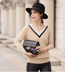 Women′s Cashmere Sweater with V-Neck (13brdw065-1)
