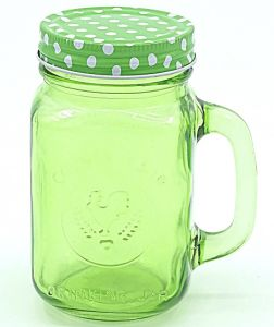 Rooster Green Handle Strew Mason Jar Drinkware Glassware