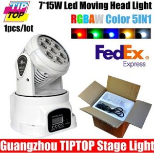 White Case 7PCS*15W 5in1 RGBWA LED Moving Head Wash Light