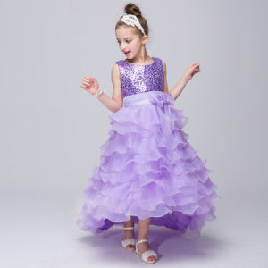 696c005024f50 Sequin Mesh Flower Party Wedding Gown Bridesmaid Tulle Dress Little Girl  Ruffles Lace Party Wedding Dresses