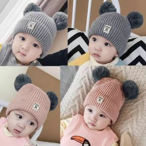 Dual POM Poms Ball Knitted Baby Caps Boys Girls Toddler Crochet Beanie  Hairball Ear Baby Hat c772288beb21