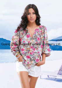 Women Woven Rose Print Long Sleeves V Necked Blouse Wholesale China OEM pictures & photos