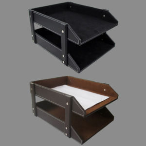 2 Tier Leather Document File Tray pictures & photos
