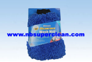 Blue Microfiber Window Cleaning Gloves Microfiber Car Glove Lamby Fabric Car Wash Glove (CN1209-1) pictures & photos