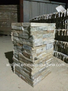SL-014FC Beautiful Beige Slate Culture Stone Wall Cladding Corner Tile pictures & photos