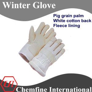 Pig Grain Palm, White Cotton Back, Fleece Lining Leather Winter Glove pictures & photos