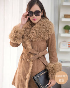 Women′s Winter Warm Lamb Leather and Fur Long Coat