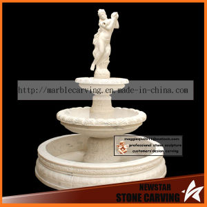 Girl Statue Carving 2 Tiers Water Garden Fontain in White Marble NSF040 pictures & photos