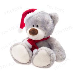 Christmas Bear.Cute Plush Teddy Bear Stuffed Animal With Christmas Hat Scarf For Christmas