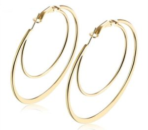 6c4f75b81 Extravagant Double Circle Flat Big Hoop Earrings with S/M/L/XL Different