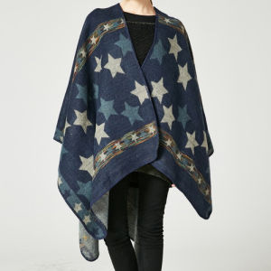 7564fb8ab Women′s Color Block Open Front Blanket Poncho Bohemian Cashmere Like Star  Printing Cape Thick