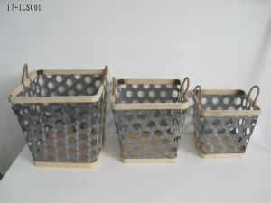 Iron and Bamboo Basket for Holding, Home Decoration and Gift
