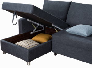 Fabric Corner Sleeper Sofa with Pull out Bed Function pictures & photos
