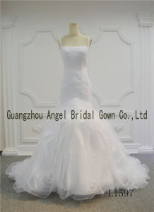 White Color Mermaid Organza Lace Bridal Gown Factory pictures & photos