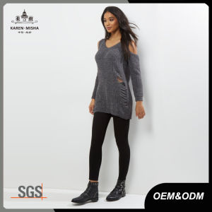 Cold Shoulder Distressed Knitted Women Sweater pictures & photos